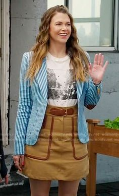 Liza's blue striped blazer and camel belted skirt on Younger.  Outfit Details: https://wornontv.net/76508/ #Younger