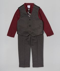Loving this Burgundy & Gray Herringbone Vest Set - Toddler & Boys on #zulily! #zulilyfinds