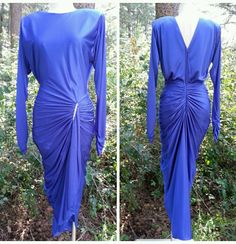 Cocoon Formal Dress Size Medium Fluid Draped Vintage 80s Mermaid Cocktail Party #Unknown