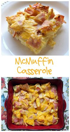 McMuffin Casserole Recipe - canadian bacon, english muffins, cheddar cheese, eggs and milk - all the flavors of an Egg McMuffin in a breakfast casserole. Try it with syrup - yum!