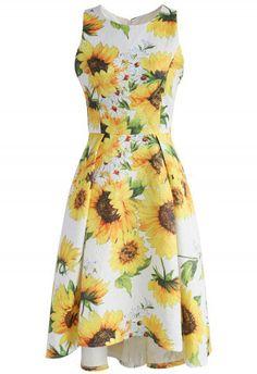 Sprightly Sunflower Jacquard Waterfall Dress