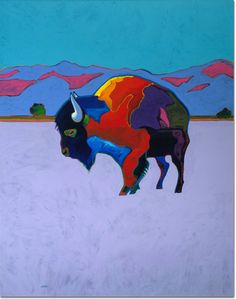 Taos Buffalo, 1993  John Nieto (United States, b. 1936)  Acrylic on Canvas, 60 X 48 inches  JKM Collection®, National Museum of Wildlife Art