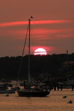 Boats at Sunset In a Harbor ~ Chatham, MA