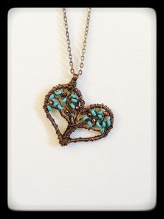 Turquoise Bead Bronze Wire Wrapped Heart Tree by MissyMazzaJewelry Unique Christmas Gift Priority Mail Shipping Agate Jewelry, Metal Jewelry, Beaded Jewelry, Handmade Jewelry, Jewlery, Tree Of Life Jewelry, Tree Of Life Necklace, Wire Wrapped Pendant, Wire Wrapped Jewelry