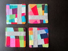 Oodalolly scrap modern patchwork coasters by Rachel Hauser