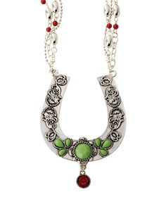 Look what I found on #zulily! Silvertone & Green Rose Floral Horseshoe Necklace by Big Sky Silver #zulilyfinds