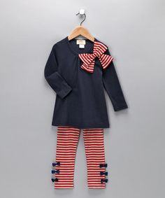 Take a look at this Navy & Red Bow Tunic & Leggings - Toddler & Girls by Mia Belle Baby on today! Little Girl Fashion, My Little Girl, Little Girl Dresses, My Baby Girl, Kids Fashion, Tunic Leggings, Striped Leggings, Toddler Outfits, Kids Outfits