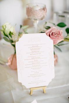 wedding menu, letterpress, blush, wedding Austria, palace photo: Tanja Schalling Photography Wedding Menu, Wedding Stationary, Letterpress, Planer, Austria, Place Cards, Blush, Gardens, Place Card Holders