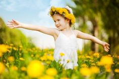 Child in the flower field