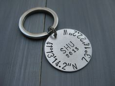 Sterling Silver Latitude Longitude Keychain Class by ESDesigns14