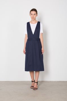 Womens Boxy Cotton Overall Dress F26 Navy   Side