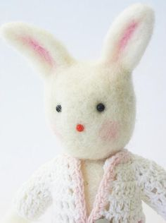 Needle felted art toy white Easter bunny with felt bear toy