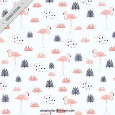 Folhas com flamingos padrão Vetor grátis