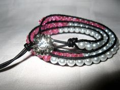 Bright pink and white triple wrap leather by MadeByCwithLove, $18.00