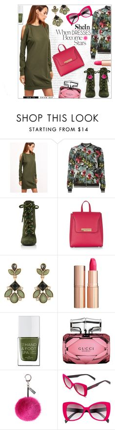 """""""The DRESS is a star!!"""" by jckallan ❤ liked on Polyvore featuring Dorothy Perkins, Prada, Industrie, New Look, Accessorize, Charlotte Tilbury, The Hand & Foot Spa, Gucci, Helen Moore and Italia Independent"""