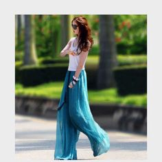 Boho Pants 2016 Summer Women Chiffon Loose beach Wide Leg Casual Elastic Waist Fashion Female Trousers on http://ali.pub/4rde2