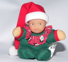 "Zapf Baby Born Mini MiniWorld Christmas Doll toy plush vinyl HTF Santa Hat 3.5""  #Dollminiverysmall"