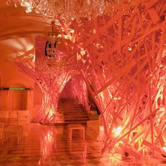 """Rebirth by Arne Quinze - """"The dazzling sculpture — which lasts for only one exclusive night — embraces the entire hotel building as a conquering and boldness alien stream, breaking through walls, corridors, stairways, lobbies and rooms."""""""
