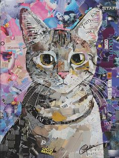 New Collage Art Magazine Paint Ideas Paper Collage Art, Collage Art Mixed Media, Paper Art, Magazine Collage, Magazine Art, Collage Portrait, Arte Sketchbook, Cat Quilt, Animal Quilts
