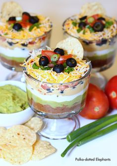 Can you believe that this year is almost over? I feel like it has just flown by. With New Years just two days away I thought I would share. New Years Appetizers, Appetizers For Party, Appetizer Recipes, Layered Desserts, Mini Desserts, Layered Bean Dip, Good Food, Yummy Food, Best Food Ever