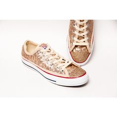 Sequin Champagne Gold Converse Canvas Low Top Sneakers Tennis Shoes... ($125) ❤ liked on Polyvore featuring shoes, sneakers, silver, sneakers & athletic shoes, tie sneakers, women's shoes, tennis shoes, glitter tennis shoes, canvas shoes and gold sneakers