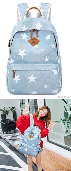 ee5b5c08737 Sweet Light Blue Student Stars Denim School Canvas Backpack for big sale!  #denim #