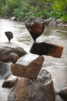 The ancient art of rock balancing. Awesome!!!