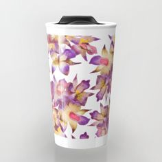 Vintage Floral -  @society6 #patttern #floral #home #homedecor #artist #travel #travelmug #watercolor #mixedmedia #country #chic #trendy #orchids #design #patterndesign #pink #soft #floral pattern #botanical #plantdecor