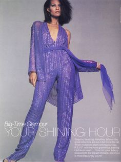 "Harper's Bazaar US August 1979 ""Big-Time Glamour: Your Shining Hour"" Model: Beverly Johnson ph: Francesco Scavullo Disco Fashion, 80s Fashion, Vintage Fashion, Fashion Ideas, Fashion Design, African American Models, Francesco Scavullo, Beverly Johnson, 70s Mode"