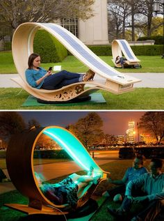 """""""Soft Rockers"""" are solar-powered lounging chairs that recharge your electronics.(Cool Furniture Inventions) Urban Furniture, Street Furniture, Cool Furniture, Furniture Design, Furniture Ideas, Futuristic Furniture, Lawn Furniture, Wooden Furniture, Concrete Furniture"""