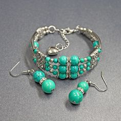 Turquoise Bangle and Earrings Set | Liquidation Channel