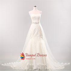 Mermaid Wedding Dress With Long Train, Strapless Mermaid Wedding Dress