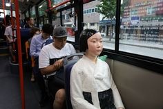 A Comfort Woman statue installed in a bus ahead of the 72nd Independence Day on August 14, 2017 in Seoul, South Korea. The statue was originally erected in 2011 in front of the Japanese Embassy in Seoul and regarded as a symbol of the sex slaves forced to work by the Japanese Imperial Army during WWII.