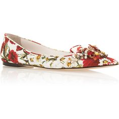 Dolce & Gabbana Floral Printed Flats with Embellished Toe (4.015 BRL) ❤ liked on Polyvore featuring shoes, flats, pointy-toe flats, leather flats, leather pointed toe flats, flat pointed-toe shoes and leather shoes