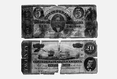 CONFEDERATE MONEY, THE TOP BILL WITH A PICTURE OF CONFEDERATE PRESIDENT JEFFERSON DAVIS, THE BOTTOM HAS A PICTURE OF CONFEDERATE VICE-PRESIDENT ALEXANDER STEPHENS.