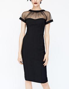 Sheer and sexy. Love this illusion yoke crepe sheath dress.