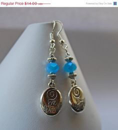 Inspirational Be Yourself Bright Blue Crystal Swirl Dangle Earrings
