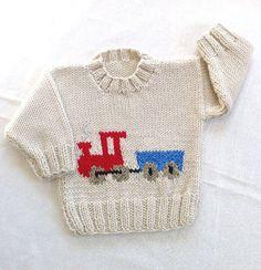 Детские вязать свитер с поездом мотив 6 до 12 по LurayKnitwear