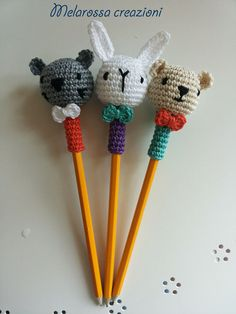 Decoration for pencils-pens bear kitten and Bunny crochet Pencil Toppers, Kitten, Bunny, Crochet Motif, Key Hangers, Colorful Decor, Amigurumi Doll, Fingers, Feathers