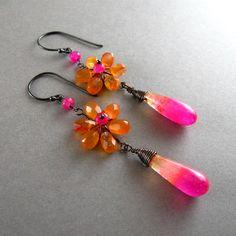 Chalcedony and Carnelian Flower Drop Earrings. $110.00, via Etsy.