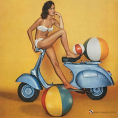 """Each year Vespa calendar would show the latest brands of Vespa scooter, and as time went on the models became independent, modern women. Mention the phrase """"Vespa scooter"""" to people of a certain age, and you'll conjure up a picture in their minds of the iconic Vespa calendar.   #calendar #girl #glamour #iconic #pin-up #vespa"""