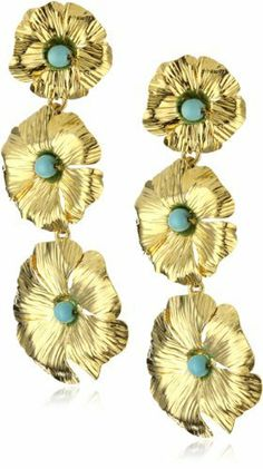 Katch by Kathy Flesch 24k Gold Plated and Turquoise Beads Earrings Katch by Kathy Flesch. $73.99. Made in Colombia. Gold plated flowers with turquoise beads.