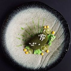 Matcha mousse with passionfruit curd, matcha dacquoise, meringue, grape & elderflower. Gorgeous dessert by @lvin1stbite #gastroart