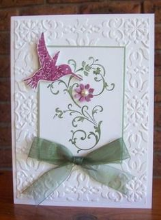 SUO Hummingbird Elements by Sarah B - Cards and Paper Crafts at Splitcoaststampers Birthday Cards For Women, Handmade Birthday Cards, Greeting Cards Handmade, Bird Cards, Butterfly Cards, Flower Cards, Embossed Cards, Stamping Up Cards, Pretty Cards