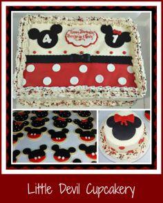 Mickey and Minnie cake, smash cake, and cookies