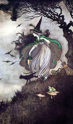 black cat, checkered, drawing witch black cat broom, fairytale, whimsical by Ida Rentoul Outhwaite