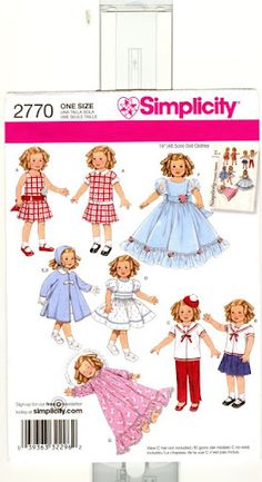 Simplicity 2770 Doll Clothes (c. Vintage Pattern Vintage Style Doll Clothes, Doll Dress, Fancy Dress, Sailor Style Clothes, PJ's by TooHipChicks on Etsy Sewing Doll Clothes, Sewing Dolls, Girl Doll Clothes, Girl Dolls, Style Clothes, Doll Sewing Patterns, Simplicity Sewing Patterns, Doll Clothes Patterns, Clothing Patterns