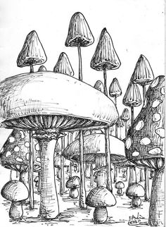 Magic mushroom coloring pages cool trippy mushroom drawings Mushroom Drawing, Mushroom Art, Art Drawings Sketches, Simple Drawings, Fantasy Drawings, Psychedelic Art, Doodle Art, Art Inspo, Line Art