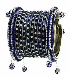 Blue and Off White Stone Studded Bangle Set
