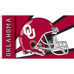 Oklahoma Sooners Football Helmet Flag